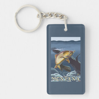 Trout Fishing Cross-Section - Montana Keychain