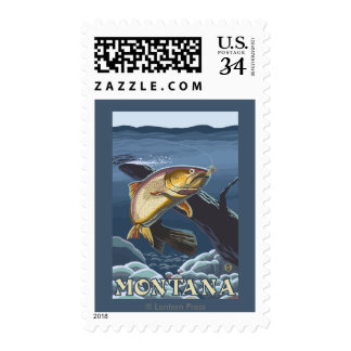 Trout Fishing Cross-Section - Montana Postage