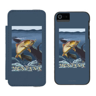 Trout Fishing Cross-Section - Montana Wallet Case For iPhone SE/5/5s