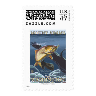Trout Fishing Cross-Section - Mount Adams, WA Postage Stamp