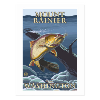 Trout Fishing Cross-Section - Mount Rainier Post Cards