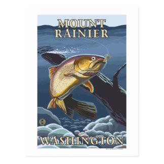 Trout Fishing Cross-Section - Mount Rainier, Postcard