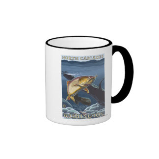 Trout Fishing Cross-Section - North Cascades, Ringer Coffee Mug