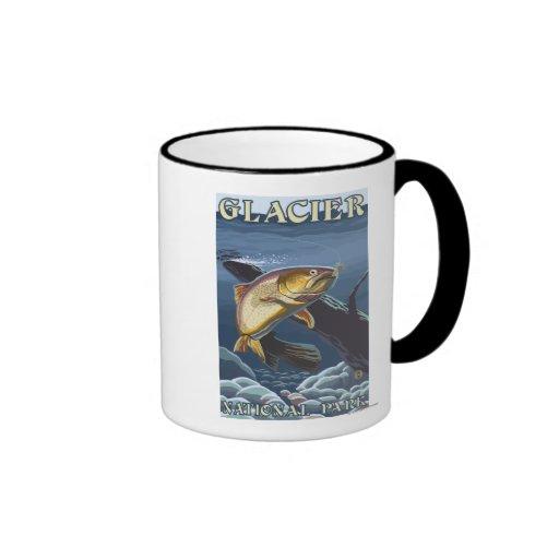 Trout Fishing Cross-Section Ringer Coffee Mug
