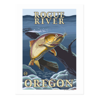 Trout Fishing Cross-Section - Rogue River, Postcard