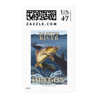 Trout Fishing Cross-Section - Sandy River, Orego Postage Stamp
