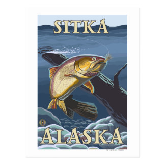 Trout Fishing Cross-Section - Sitka, Alaska Postcards