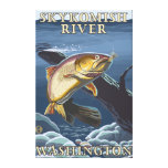 Trout Fishing Cross-Section - Skykomish River, Canvas Print