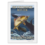 Trout Fishing Cross-Section - Skykomish River, Greeting Card
