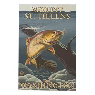 Trout Fishing Cross-Section - St. Helens, WA Wood Print