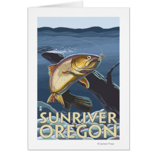 Trout Fishing Cross-Section - Sun River, Card