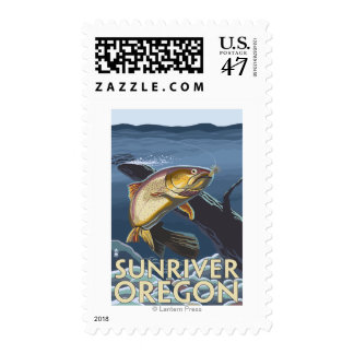 Trout Fishing Cross-Section - Sun River, Postage Stamp