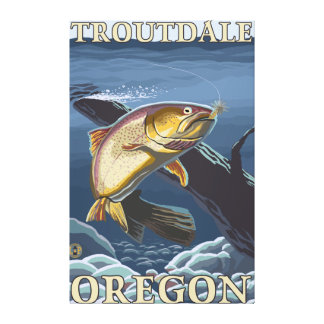 Trout Fishing Cross-Section - Troutdale, Canvas Print