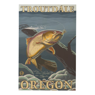 Trout Fishing Cross-Section - Troutdale, Wood Wall Decor