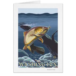 Trout Fishing Cross-Section - Washington Card
