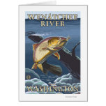 Trout Fishing Cross-Section - Wenatchee River, W Greeting Card