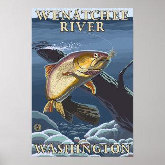 Trout Fishing Cross-Section - Wenatchee River W Print