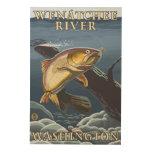 Trout Fishing Cross-Section - Wenatchee River, W Wood Wall Art