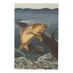 Trout Fishing Cross-Section - West Yellowstone, Wood Wall Art