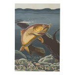 Trout Fishing Cross-Section - West Yellowstone, Wood Wall Decor