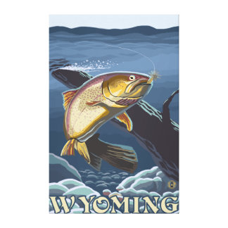 Trout Fishing Cross-Section - Wyoming Gallery Wrapped Canvas