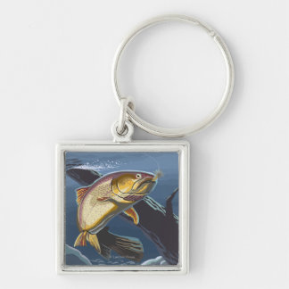 Trout Fishing Cross-Section - Wyoming Key Chains