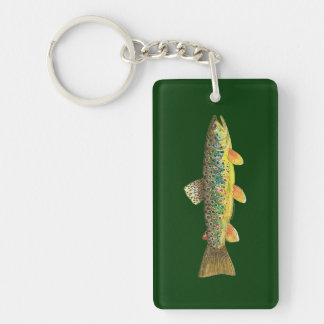 Trout Fishing Double-Sided Rectangular Acrylic Keychain