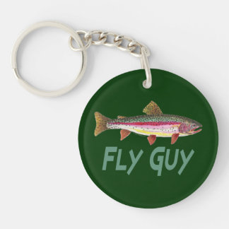 Trout Fishing Double-Sided Round Acrylic Keychain