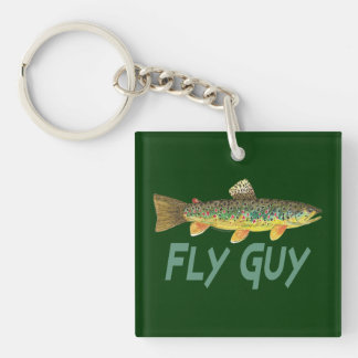 Trout Fishing Double-Sided Square Acrylic Keychain