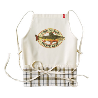 Trout Fishing Fish More Work Less Zazzle HEART Apron