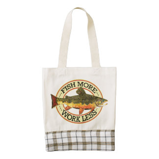 Trout Fishing Fish More Work Less Zazzle HEART Tote Bag