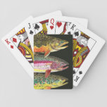 "Trout Fishing Game Playing Cards<br><div class=""desc"">Design features 3 trout: Brook Trout, salvelinus fontinalis; Rainbow Trout, Oncorhynchus mykiss; and, Brown Trout, salmo trutta. Art is from original watercolor paintings by Mr. Trout Whiskers. Great decorating item for home, office, cabin, lodge. Unique gift for those who love fishing or ichthyology. Other items with this design also available....</div>"