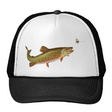Beach Themed trout fishing illustration fisherman shirt trucker hat