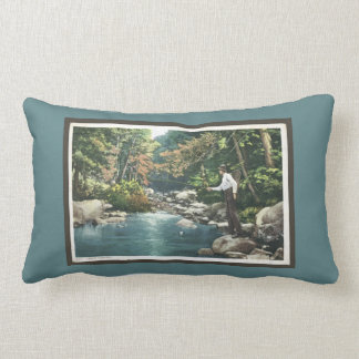 Trout Fishing in Stream Vintage Iinspired Lumbar Pillow