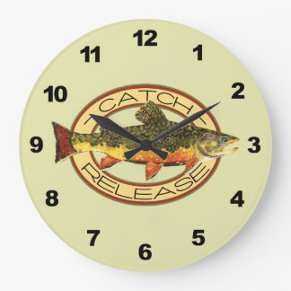 Trout Fishing Large Clock