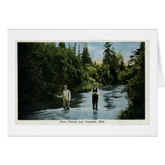 Trout Fishing near Escanaba, Michigan Vintage Card