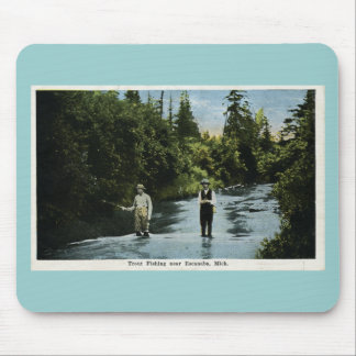 Trout Fishing near Escanaba, Michigan Vintage Mouse Pad