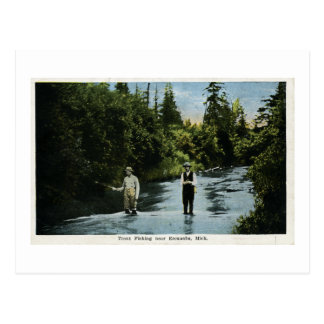 Trout Fishing near Escanaba, Michigan Vintage Postcard