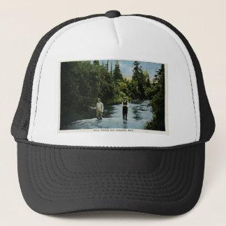 Trout Fishing near Escanaba, Michigan Vintage Trucker Hat