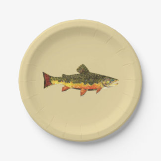 Trout Fishing Paper Plate
