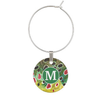Trout Fishing Wine Glass Charm