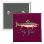 Trout Fly Fishing 2 Inch Square Button