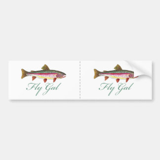 Trout Fly Fishing Car Bumper Sticker