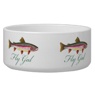 Trout Fly Fishing Dog Bowls