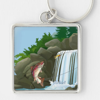 Trout Fly Fishing Fisherman Keychain