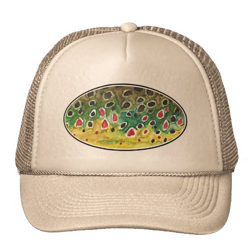 Trout fly fishing trucker hat zazzle for Trout fishing hats