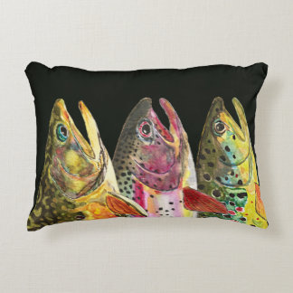 Trout Fly Fishing Accent Pillow