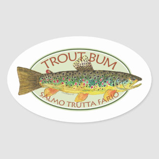 Trout Fly Fishing Oval Sticker