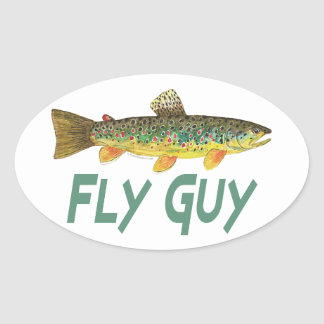 Trout Fly Fishing Oval Stickers