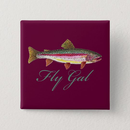 Trout Fly Fishing Pinback Button